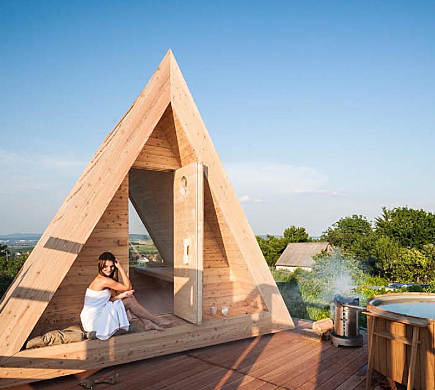 Sauna. Cabañas de madera.